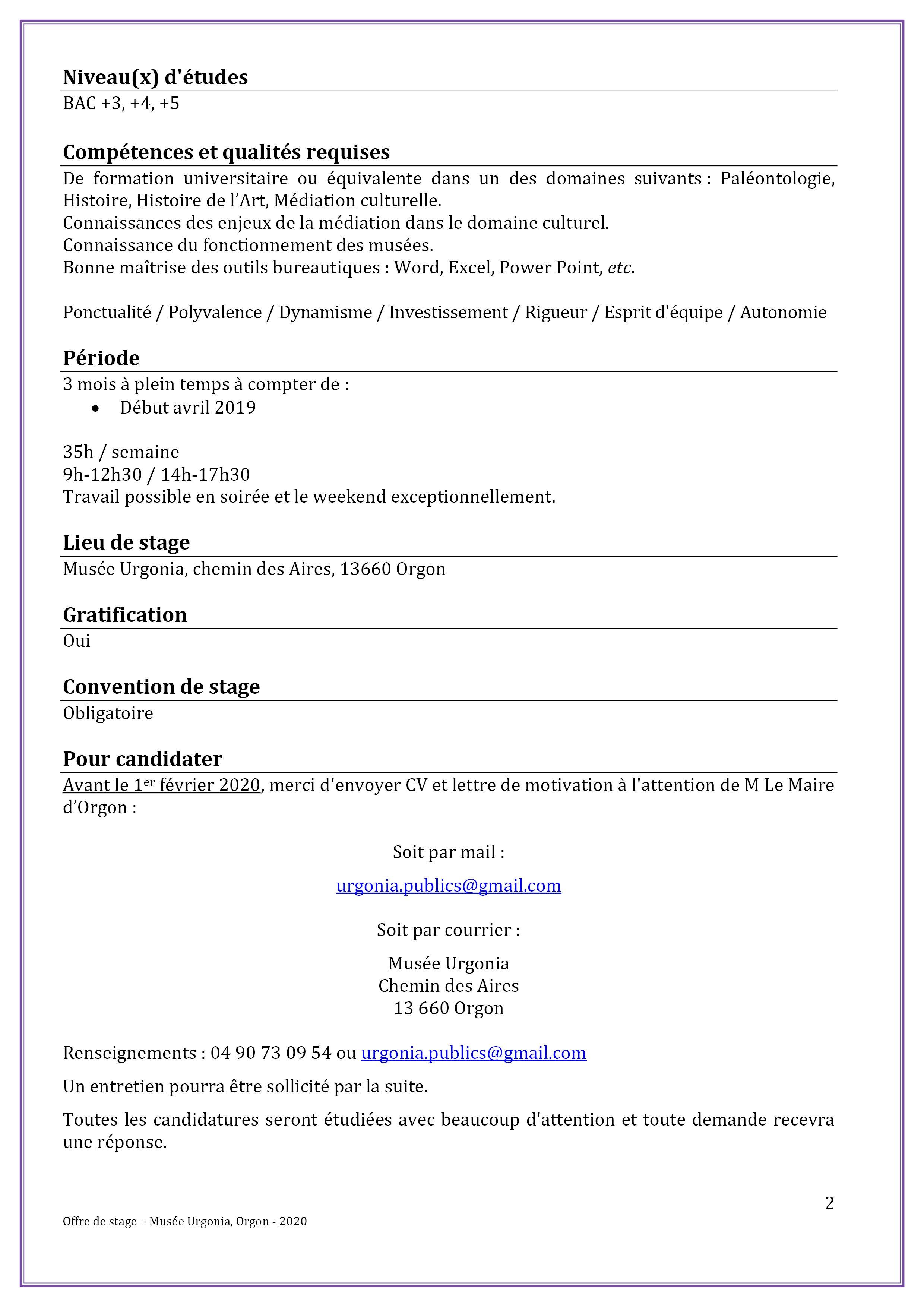 Offre De Stage Médiation Culturelle Au Musée Urgonia
