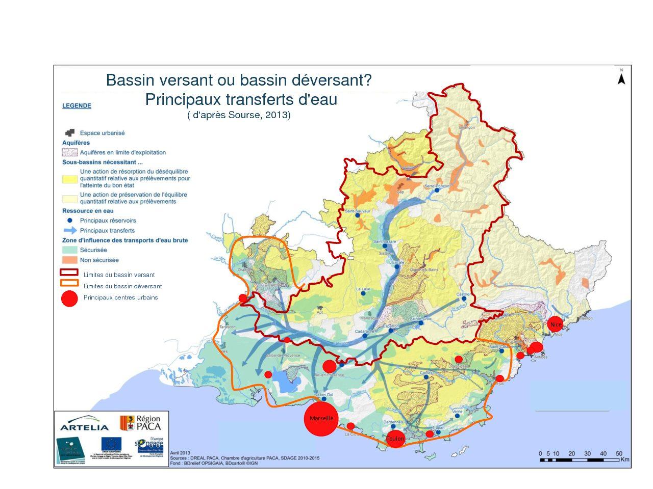 Les transferts d'eau en région Provence-Alpes-Côte d'Azur (d'après SOURSE 2013)