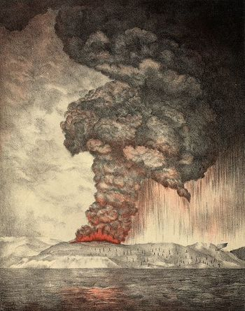 Xl krakatoa eruption lithograph
